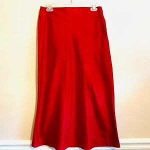 New Red Linen Mid Calf Length Skirt From George